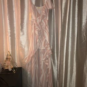 Pastel Pink and White Ruffle Dress by a. peach